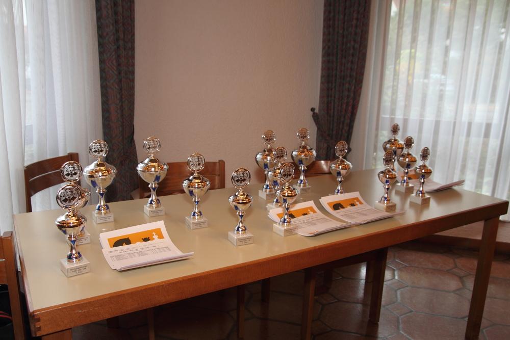 Bezirksjugendeinzelmeisterschaft 2015-2016 Pokale und Urkunden