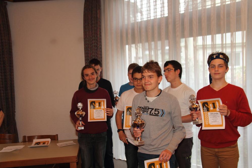 Bezirksjugendeinzelmeisterschaft 2015-2016 Siegerehrung U16-U18